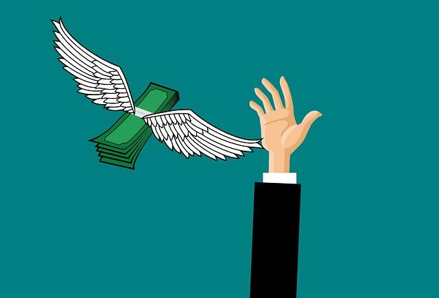 okřídlené bankovky, chytající ruka, ilustrace